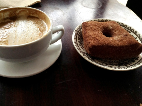 Delicious doughnut and latte at Fritz Pastry